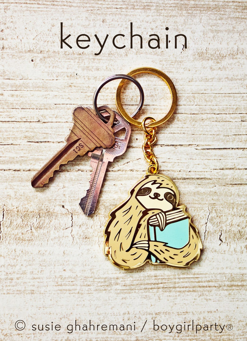 Bookish Gifts  SLOTH KEYCHAIN  Book Gifts for Women  image 0