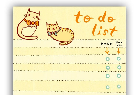 cat to do list cute office desk accessories for women etsy