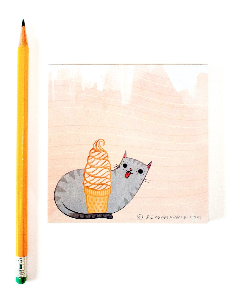 Soft Serve Cat Notepad ice cream gift for daughter ice cream image 0