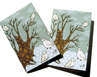 SNOWY OWL greeting cards, set of two, by boygirlparty Susie Ghahremani, winter holiday notecard pair stationery