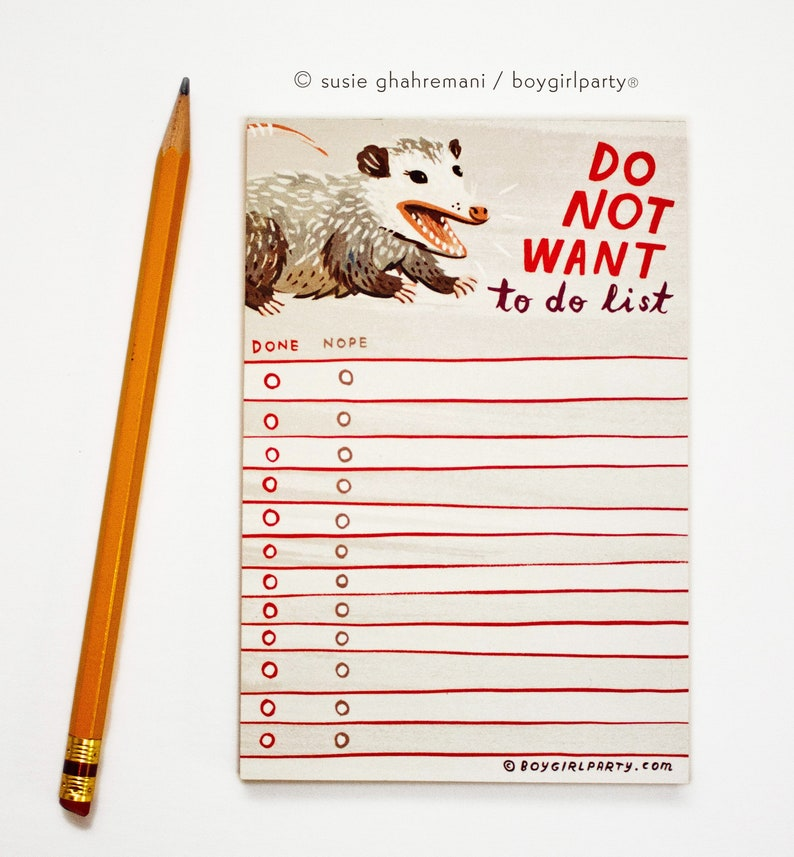 Funny Gift for Friends  Opossum To Do List Notepad  Funny image 0