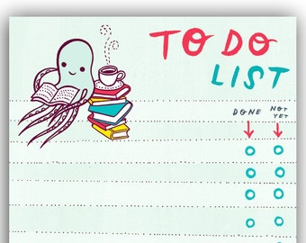 Unique office desk gift -- Etsy to do list -- Cute octopus gifts -- kawaii desk accessories -- small gift ideas for coworkers -- supplies