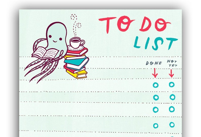 Unique office desk gift  Etsy to do list  Cute octopus image 0