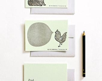 Letterpress Stationery Set - Animal Cards Set - Letter Press Cards Stationery Stationary Cards Letterpress