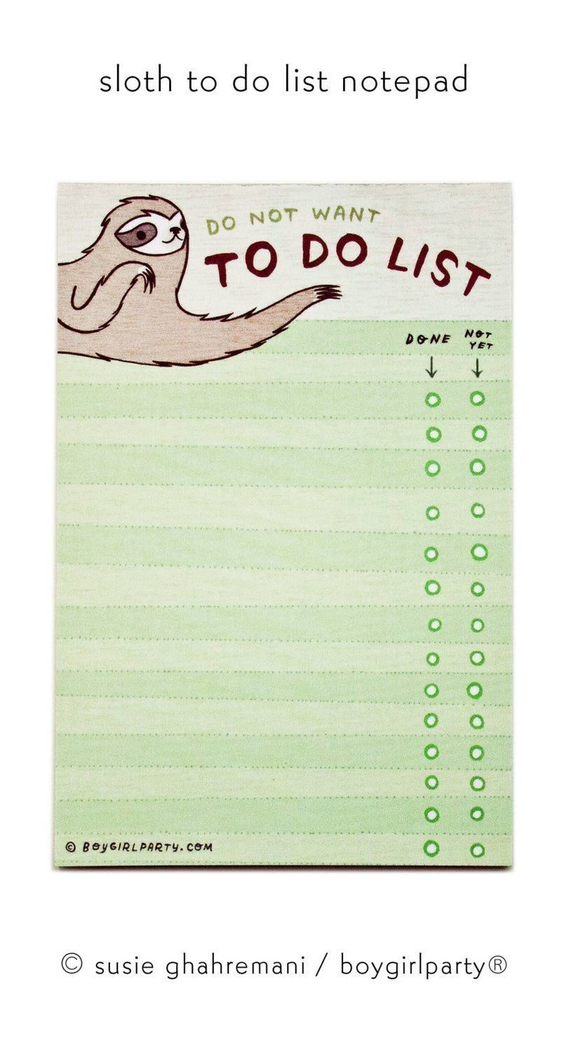 Funny gifts  Sloth TO DO LIST notepad  Sloth gifts  Do not image 0
