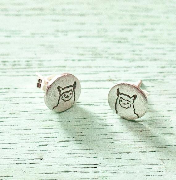 1d1b6ef9e Silver Llama Earrings Cute Alpaca stud earrings Llama | Etsy