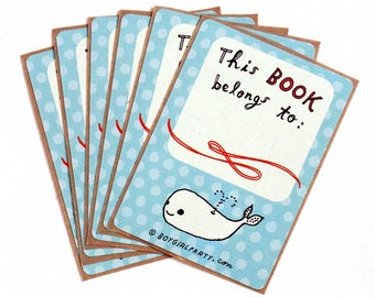 Whale ex libris This Book Belongs To STICKERS, book labels, book lover gift, whale art bookplate stickers, book baby shower library gifts