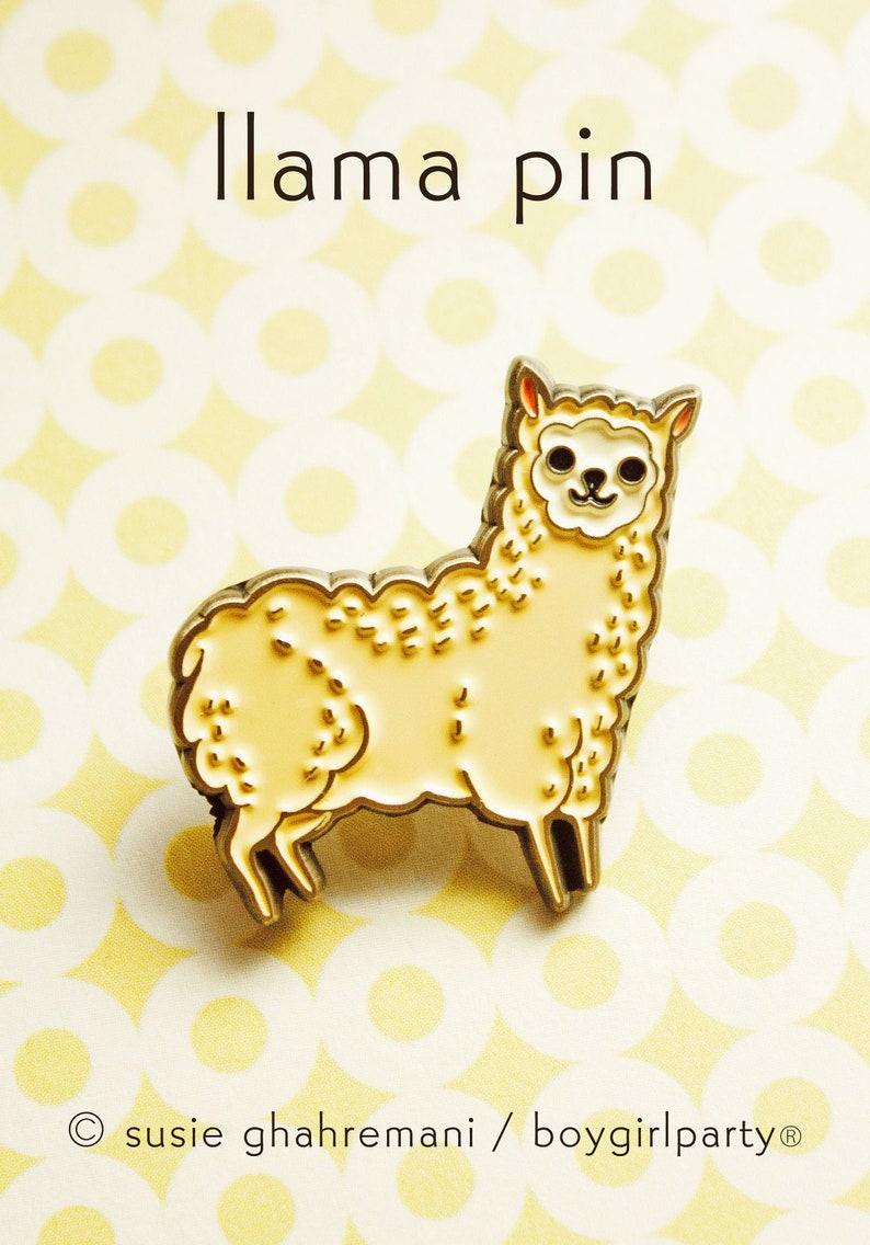 Alpaca Enamel Pin  Llama Gifts for Teen Girl  Vegan Pins  image 0