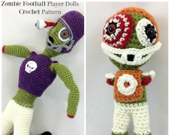 Zombie Crochet Pattern, Zombie Pattern, Amigurumi Pattern, Crochet Monster, Zombie Football Players