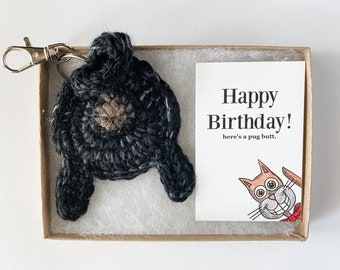 Black Pug Butt Long Distance Keychain 50th Birthday Gift for Women with Birthday Card