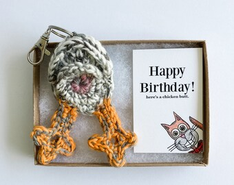 Chicken Butt Keychain Personalized 21st Birthday Gift for Her with Cat Birthday Card