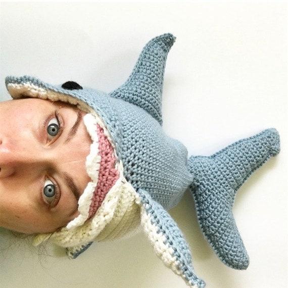 CROCHET PATTERN Shark Hat Pattern Great White Shark Shark  a4d6c6b1eabc