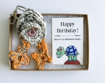 Chicken Butt Keychain 80th Birthday Gift with Turtle Birthday Card