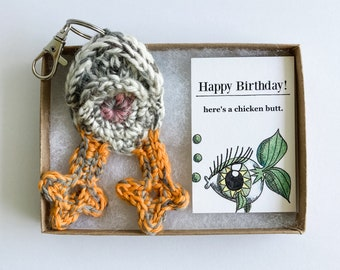 Chicken Butt Keychain 50th Birthday Gift for Women with Fish Birthday Card