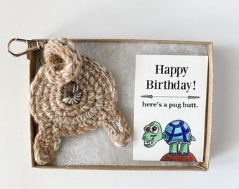 Fawn Pug Butt Keychain Personalized 21st Birthday Gift for Her with Birthday Card