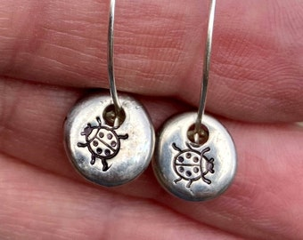 Ladybugs Hand Stamped On Pewter Droplets/ Dangle Hoop Earrings/ Gift Idea For Gardener, Horticulturist/ Lucky Charm Nature Lady Bird Jewelry