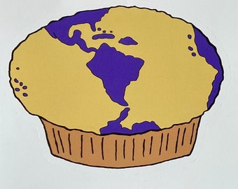 Earth Muffin Iron-on Art, Perfect for Earth Day - Add Decal to T-shirt, Jeans, or Tote - There Is No Second Batch - Mom/Dad/Child Project