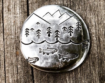 Pocket Hug Token/ Fathers Day Fishing Mountain Coin Personalize Gift Idea For Retirement Wedding Memorial Medallion Custom Stone Bereavement