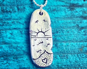 Sunset Beach Scene Mother's Day Gift Idea - Hand Stamped On Long Oval, Pewter Pendant -Ocean Lover, Surfer, Mermaid - Sea Summer Vacation