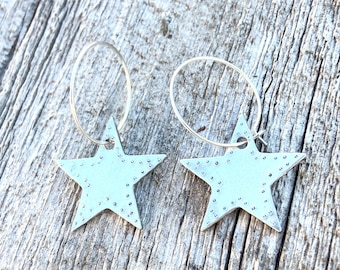 Boulder Flagstaff Star Hoop Earrings / Great Gift Idea - Colorado Christmas Hanukkah Local Holiday/ Hand Stamped Silver Pewter Jewelry