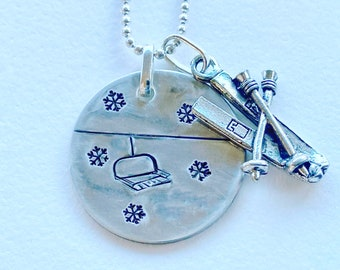 Skier/Snowboarder Necklace- Chairlift Gift Idea for your Favorite Boarder, Skier or Winter Sports Fan/ Colorado Jewelry By Moesart!