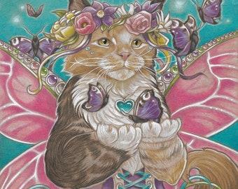 Maine Coon Cat Art Gift Home Decor Wall Art Pastel Nursery Print Girls Room Print Cat Print Gift Art Print Fantasy Art Fairy Art
