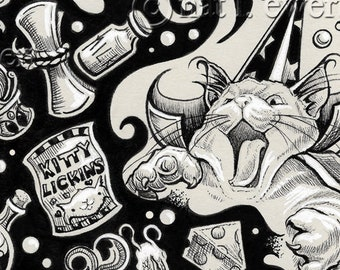 Magic Print, Cat Print, Wizard, Drawing, Maine Coon, Illustration, Gift Idea, Home Decor, Wall Art, Ink Art