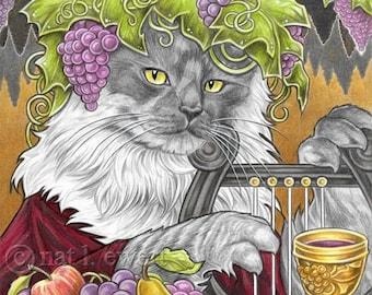 Kitchen Print Cat Art Print Maine Coon Art Wine Print Home Decor Dinner Print Cat Print Gifts Bacchus Dionysus Greek Print Mouse Print