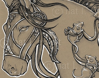 Horse Print, Mouse Print, Drawing, Equestrian, Cute Mice Illustration, Gift Idea, Home Decor, Wall Art, Ink Art, Gothic Art