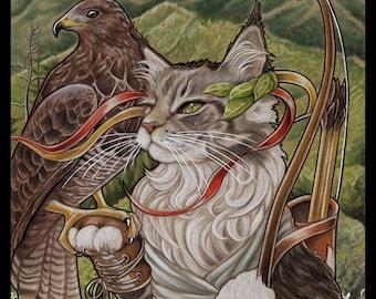 Maine Coon Cat Art Print Home Decor Gift for Cat Lover Print Cat Print Gift Fantasy Art Artemis Goddess Art Hawk Print Bird Print Nature Art