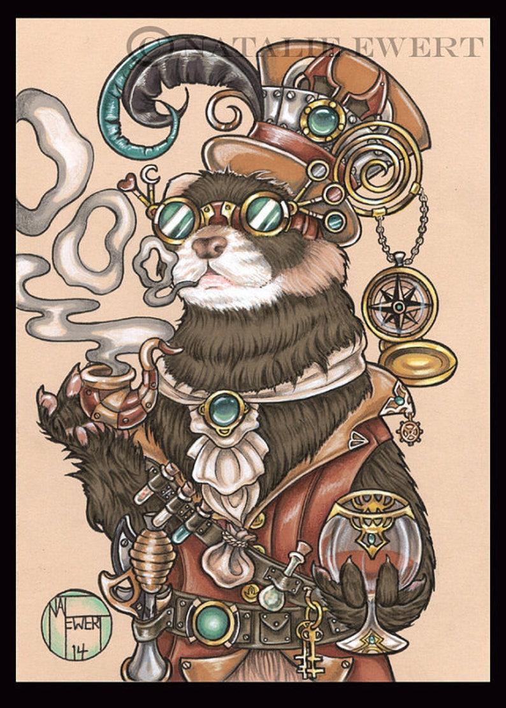 Steampunk Art Print Ferret Art Steampunk Decor Animal Art ...