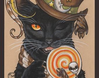 Black Cat Art Print, Halloween, Autumn, Fall, Gothic, Illustration, Home Decor, Wall Art, Candy, Trick or Treat
