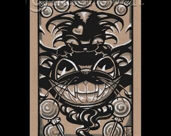 Halloween ORIGINAL Drawing, Black Cat, Kitten, Small Art, Mini Art, Illustration, Gifts, Home Decor, Wall Art, Cute