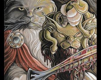 Medusa Print Cat Art Print Maine Coon Art Home Decor Gift for Cat Lover Gifts Sword Print Fantasy Print Cat Print Gift for Him Mythology