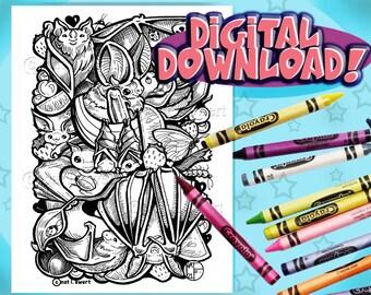 Kawaii BATS Coloring Page, Instant Digital Download, Print at Home, Downloadable Art, Coloring Sheet, Printable,  Cute Drawings, Halloween