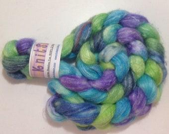 Hand Dyed Roving, Superwash Merino Bamboo, Bamboo Roving, Wool, SW Merino Comb Top, Merino Wool, Spinning Fiber, Spinning Wool, Knitspin