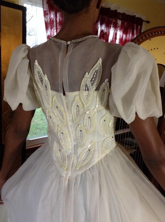 Vintage Chiffon Ballet Wedding Dress - image 4