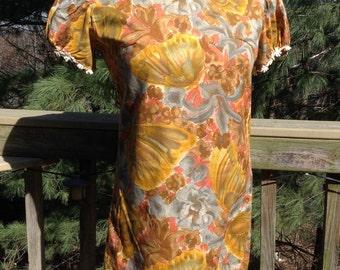 Vintage Butterfly Print Dress Daisy Trim