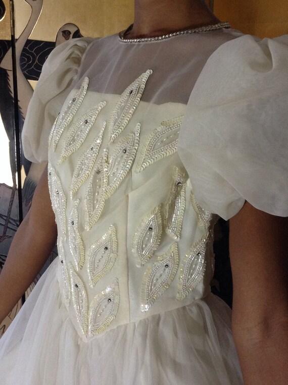 Vintage Chiffon Ballet Wedding Dress - image 3