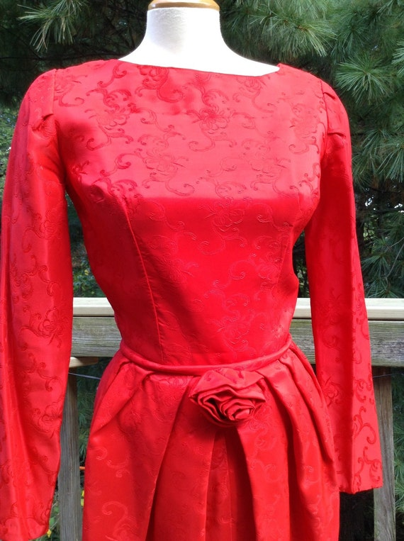 Vintage Red Brocade Bombshell Dress