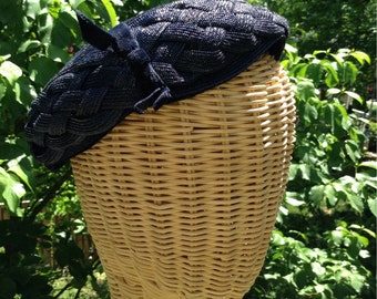 Vintage Navy Blue Woven Hat 50s