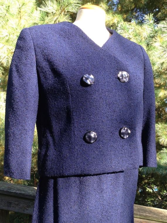 Vintage Blue Wool Boucle Suit Bonwit Teller