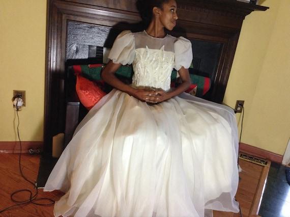 Vintage Chiffon Ballet Wedding Dress - image 2