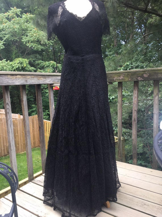 Vintage Black Lace Gown Full Circle Skirt
