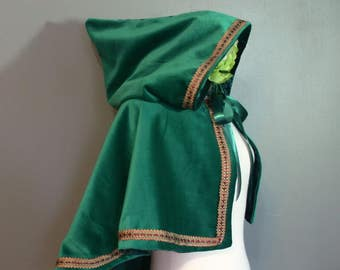 Hooded Elf Capelet green velvet capelet  with pointed hood