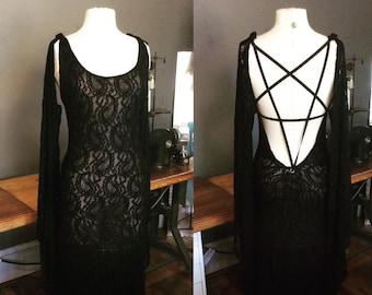 Pentagram witch dress Baphomet fashion long gothic dress