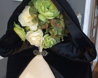 Long Black Velvet Cloak Hooded Cape