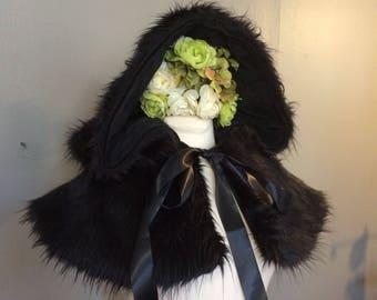 black fur hood faux fur shoulder cape