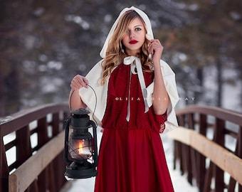 """Snow Queen White Velvet Hooded Capelet  Bride's Cape 18"""""""