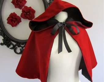 Red Riding Hood Cape red hooded capelet for adults velvet, satin, or fleece